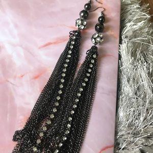 Black chain dangle earrings